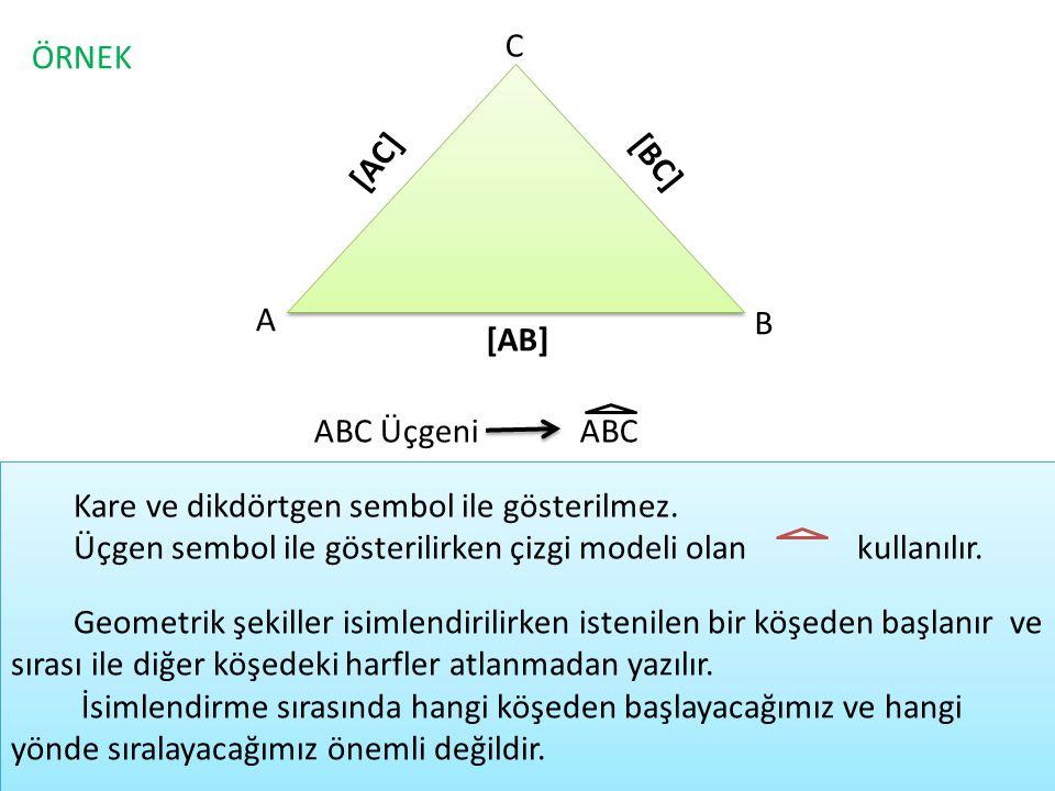 C ÖRNEK. [AC] [BC] A. B. [AB] ABC Üçgeni. ABC. Kare ve dikdörtgen sembol ile gösterilmez.